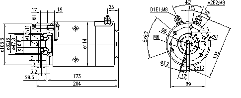 Электродвигатель AMJ5718 (MM 256, 11.216.205, IMM306205) - схема