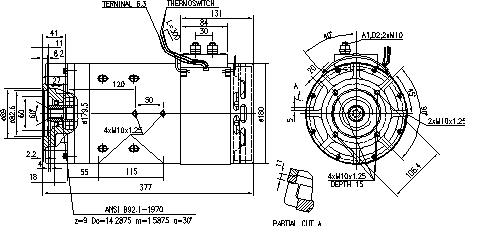 Электродвигатель AMT4659 (MM 344, 11.216.404, IMM306404) - схема