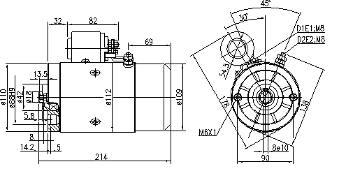 Электродвигатель AMJ5865 (MM 15, 11.216.910, IMM306910) - схема