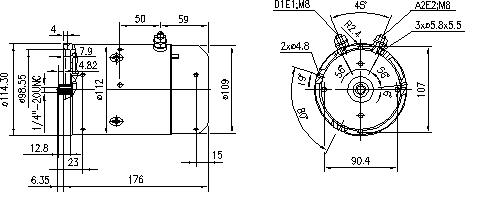 Электродвигатель AMJ5580 (MM 181, 11.212.385, IMM302385) - схема
