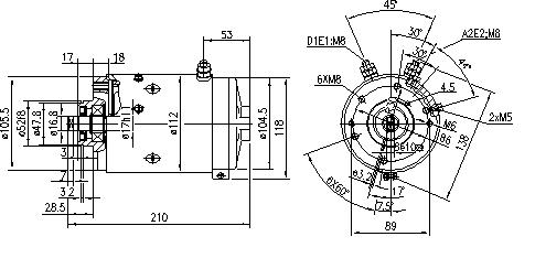 Электродвигатель AMJ5285 (MM 189, 11.216.024, IMM306024) - схема