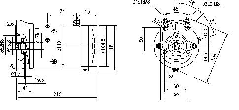 Электродвигатель AMJ5286 (MM 188, 11.216.025, IMM306025) - схема