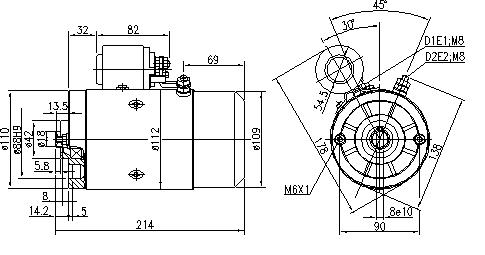 Электродвигатель AMJ5864 (MM 14, 11.216.909, IMM306909) - схема