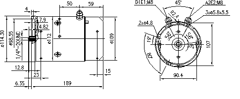 Электродвигатель AMJ5581 (MM 180, 11.212.386, IMM302386) - схема