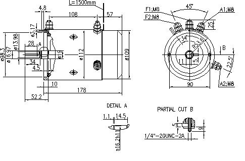 Электродвигатель AMJ4506 (MM 279, 11.216.503, IMM306503) - схема