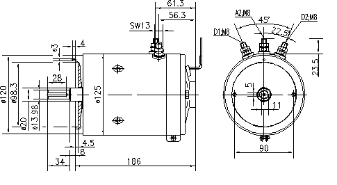 Электродвигатель AMK4657 (MM 209, 11.216.505, IMM306505) - схема