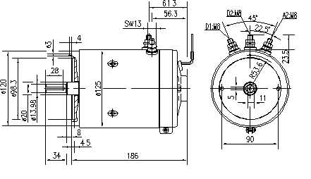 Электродвигатель AMK4656 (MM 212, 11.216.506, IMM306506) - схема