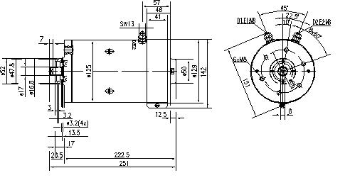 Электродвигатель AMK5532 (MM 213, 11.216.507, IMM306507) - схема