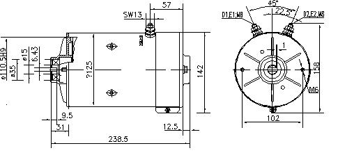 Электродвигатель AMK5533 (MM 162, 11.216.508, IMM306508) - схема