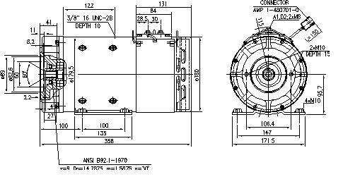 Электродвигатель AMT4664 (MM 349, 11.216.510, IMM306510) - схема