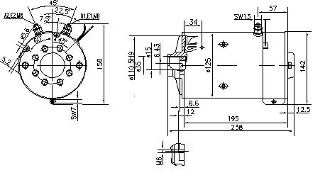 Электродвигатель AMK5534 (MM 194, 11.216.514, IMM306514) - схема