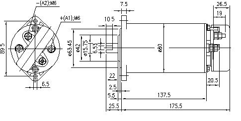 Электродвигатель AME1784 (MM 130, 11.216.526, IMM306526) - схема