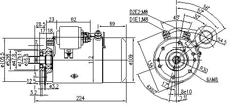 Электродвигатель AMJ5768 (MM 133, 11.216.447, IMM306447) - схема
