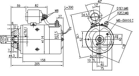 Электродвигатель AMJ5769 (MM 175, 11.216.455, IMM306455) - схема