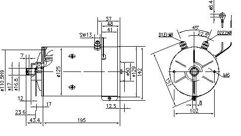 Электродвигатель AMK5531 (MM 145, 11.216.486, IMM306486) - схема