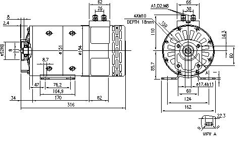Электродвигатель AMP4526 (MM 198, 11.216.555, IMM306555) - схема