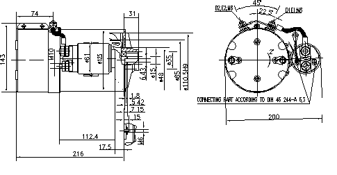 Электродвигатель AMK5539 (MM 360, 11.216.539, IMM306539) - схема