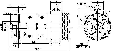 Электродвигатель AMP4529 (MM 306, 11.216.591, IMM306591) - схема