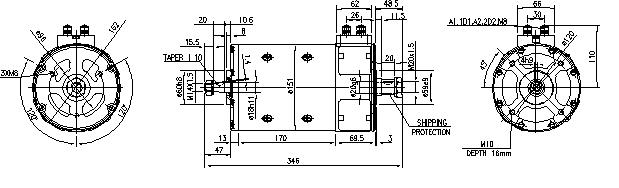 Электродвигатель AMP4525 (MM 215, 11.216.534, IMM306534) - схема