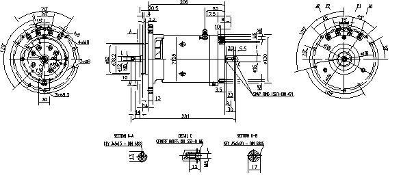 Электродвигатель AMK2630 (MM 73, 11.216.664, IMM306664) - схема