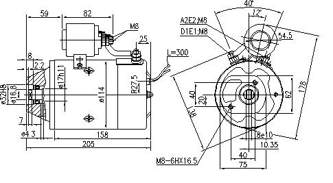 Электродвигатель AMJ5816 (MM 259, 11.216.677, IMM306677) - схема