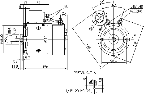 Электродвигатель AMJ5822 (MM 125, 11.216.708, IMM306708) - схема