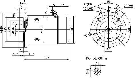 Электродвигатель AMJ4540 (MM 101, 11.216.700, IMM306700) - схема