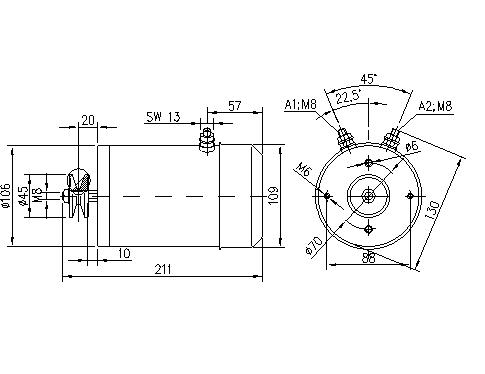 Электродвигатель AMG1636 (MM 144, 11.216.213, IMM306213) - схема