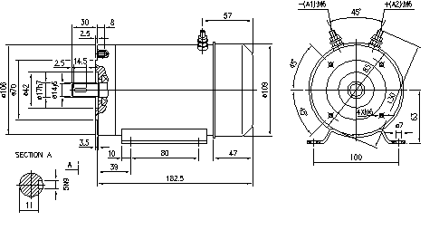 Электродвигатель AMG1640 (MM 128, 11.216.228, IMM306228) - схема