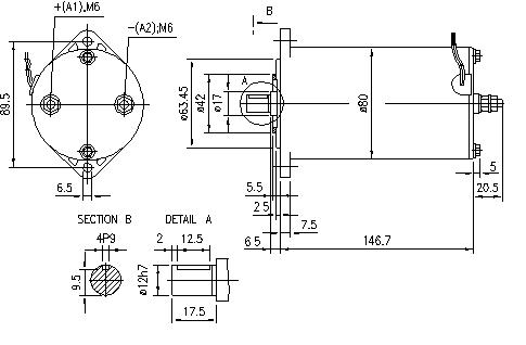Электродвигатель AME1120 (MM 258, 11.216.727, IMM306727) - схема