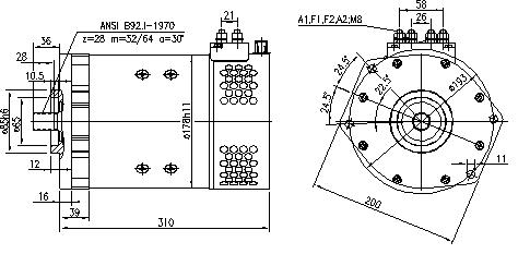 Электродвигатель AMT2627 (MM 357, 11.216.617, IMM306617) - схема