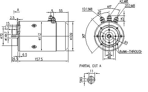 Электродвигатель AMJ4572 (MM 40, 11.216.773, IMM306773) - схема
