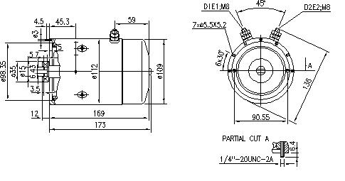 Электродвигатель AMJ5545 (MM 19, 11.212.286, IMM302286) - схема