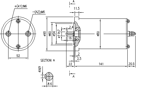 Электродвигатель AME1569 (MM 187, 11.216.107, IMM306107) - схема
