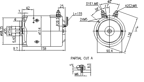 Электродвигатель AMJ5763 (MM 321, 11.216.422, IMM306422) - схема
