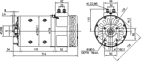Электродвигатель AMP4539 (11.216.915, IMM306915) - схема