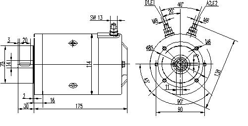Электродвигатель AMJ5868 (MM 13, 11.216.925, IMM306925) - схема
