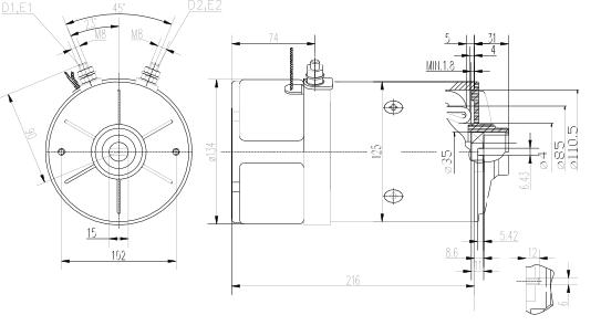 Электродвигатель AMK5563 (11.216.919, IMM306919) - схема