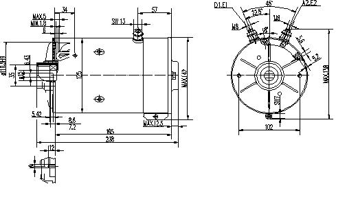 Электродвигатель AMK5505 (MM 299, 11.216.135, IMM306135) - схема