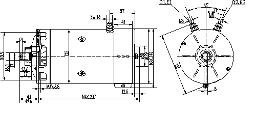 Электродвигатель AMK5513 (MM 292, 11.216.267, IMM306267) - схема