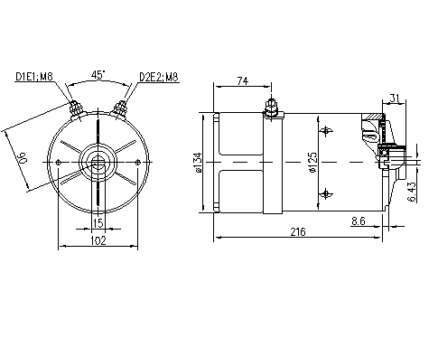 Электродвигатель AMK5558 (MM 4, 11.216.825, IMM306825) - схема