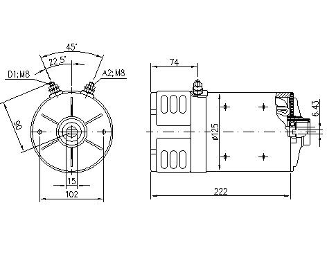 Электродвигатель AMK4688 (MM 43, 11.216.885, IMM306885) - схема