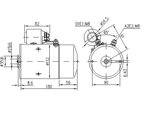 Электродвигатель AMJ5144 (MM 41, 11.212.597, IMM302597) - схема
