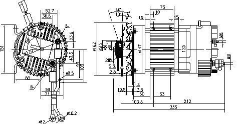 Электродвигатель AMK6126 (MM 358, 11.213.223, IMM303223) - схема