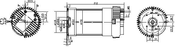 Электродвигатель AML6307 (MM 353, 11.213.227, IMM303227) - схема