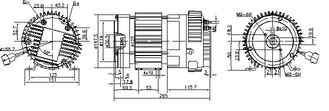 Электродвигатель AMK6129 (MM 45, 11.213.232, IMM303232) - схема