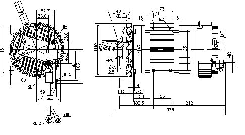 Электродвигатель AMK6127 (MM 339, 11.213.224, IMM303224) - схема