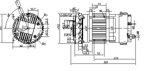 Электродвигатель AMK6128 (MM 351, 11.213.231, IMM303231) - схема