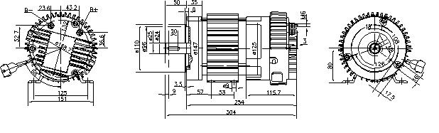 Электродвигатель AMK6130 (MM 23, 11.213.233, IMM303233) - схема