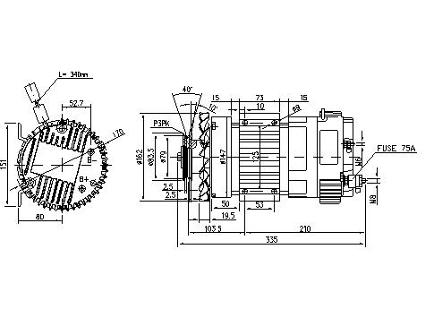 Электродвигатель AMK6125 (MM 338, 11.213.222, IMM303222) - схема